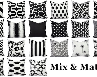 Black Pillow Covers - Black and White Pillows - Black Accent Pillow - Black Pillow Sham - Couch Pillow - White Pillow Cover - Black Pillows