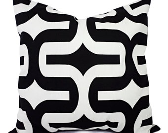 Black White Decorative Pillow Covers - Two Black and White Pillows - 12x16 12x18 14x14 16x16 18x18 20x20 22x22 24x24 26x26 Pillow Cover