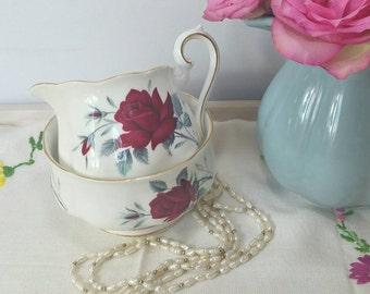 Vintage Royal Albert sweet romance milk jug and sugar bowl / creamer set