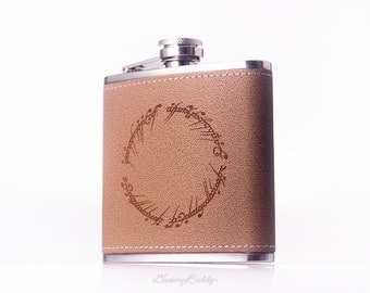 The One Ring Inscription Flask - Lord of the Rings - The Hobbit -  6oz Engraved Leather Hip Flask