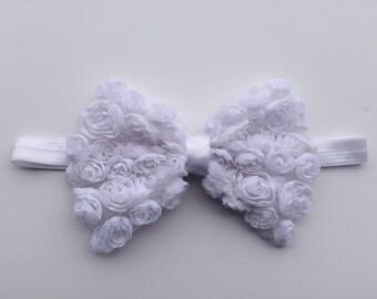 White rosette flower bow headband