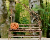 Miniature Primitive Fairy Chair Bench Branches Orange Flower Tiny Furniture FREE SHIPPING
