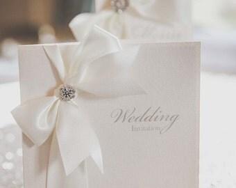 Luxury Satin Ribbon Wedding Invitations/Stationery