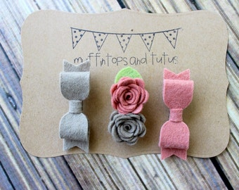 Felt hair clips - latte and grapefruit - alligator clips