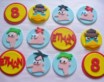 12 PHINEAS and FERB Edible Fondant Cupcake Toppers Personalized