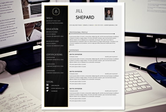 the jill creative resume template modern professional resume template cv instant download word for the - Professional Creative Resume