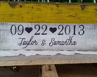 Custom WEDDING DATE SIGN - A Rustic Sign for Save the Date or Anniversary Photos - Great Bridal Shower or Wedding Gift