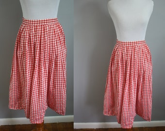 1950's Circle Skirt // Red Gingham // Small