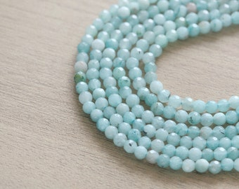50 pcs of Natural Dyed Jade Blue Round Faceted Beads - 4 mm