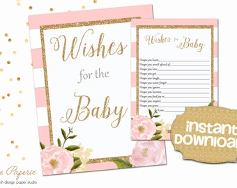 INSTANT DOWNLOAD - Floral Wishes for Baby Cards- Wishes for baby Sign - Blush Pink Stripe Gold Glitter - Baby Shower Games - 0128