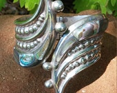 TAXCO Mexico Sterling Silver Abalone Bead Clamper Bracelet