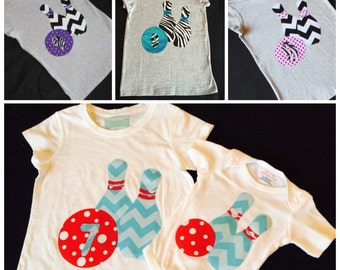 Girls boutique appliqued custom birthday bowling shirt