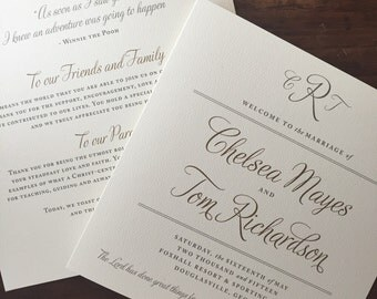Traditional Wedding Programs // Gold and Cream // Purchase this Deposit Listing to Get Started