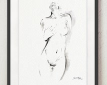 Naked Woman Art Female Painting Abstract Poster Nude Girl Female Nudity Wall Decor