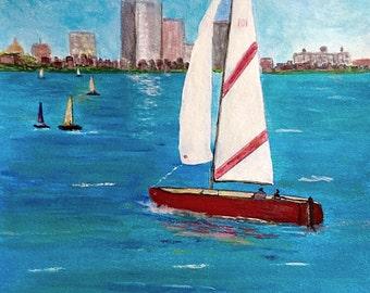 Sailing on the Charles River Boston