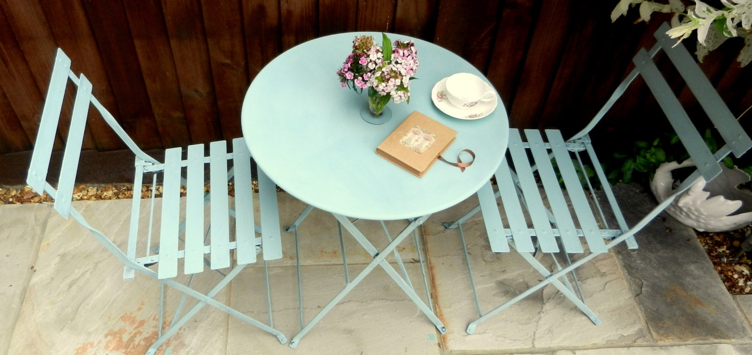 Vintage cafe table and chairs - Vintage Bistro Shabby Chic Metal Garden Folding Patio Table And 2 Chairs Aquamarine Duck Egg Blue Cafe Set