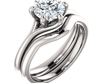 7mm 1.25ct FB Round Moissanite   Solitaire Engagement Ring In 14K White Gold - ST811221