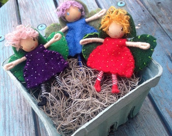 Berry Fairy Waldorf inspired Bendy Doll Set