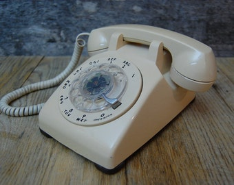 beige Western Electric rotary dial phone - mid century modern WORKS!