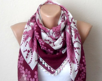 pink white scarf flower pink claret red beads cotton scarf handmade scarf oya scarf gift woman scarf
