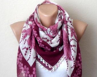 white scarf flower pink claret red beads cotton turkish yemeni oya handmade