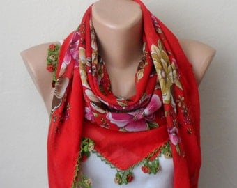 red scarf multicolor scarf yemeni scarf women scarves fashion scarf floral print scarf gift for her
