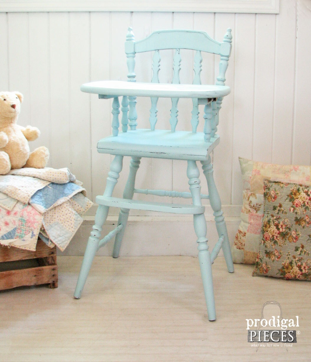 Aqua Blue Vintage Wooden Baby High Chair With Hand Painted Plate