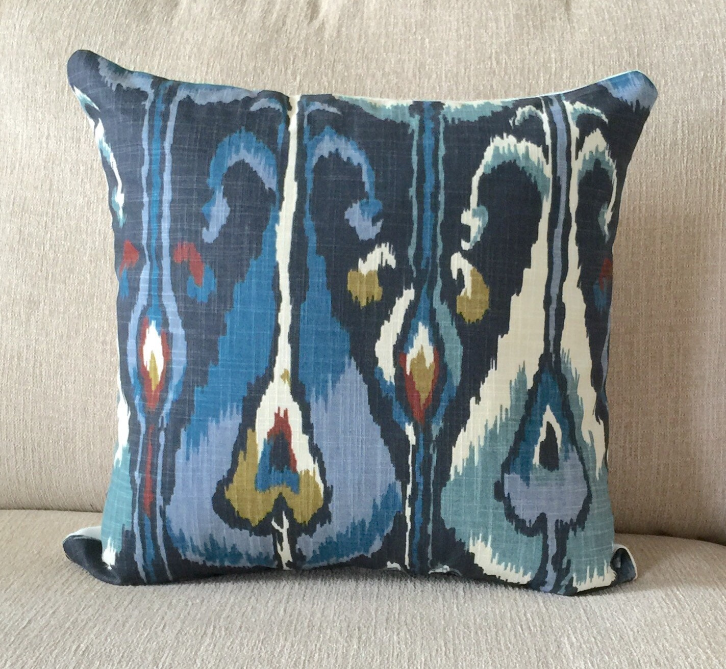 ikat blue decorative pillow Robert Allen home by OldLakeGeorge