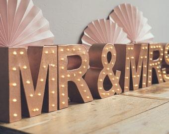 Freestanding MR(S) & MR(S) marquee letter light, light up letter, wedding sign,marquee lights,sweetheart table decor