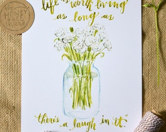 Watercolor Quote Art/ Anne of Green Gables Quote/ Laughter Quote- 8x10