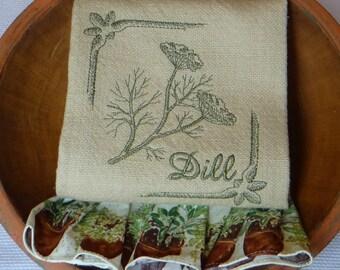 Ruffled Cotton Kitchen Towel Dish Towel Tea Towel -Dill Herbs