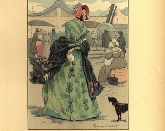 Antique Original Women French Costume Colored Lithograph Print -  Passengers By The Corbeil Steamboat 1846