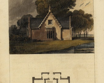 Original Antique Hand Colored Architectural Print From The Ackermann's Repository Series - A Bailiff's Cottage