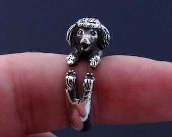 Silver Poodle Ring, Adjustable Ring, Animal Ring, Sterling Silver Ring, Poodle Art, Poodle Jewelry, Poodle Figurine Poodle Charm Ring Poodle