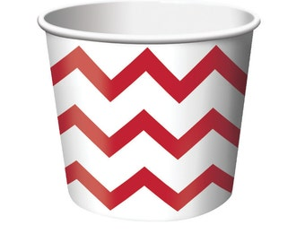 Valentine's red and white chevron snack party cups, ice cream cups, treat cups, favor cups, candy cups, red party tableware, February 14