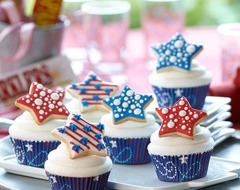 Patriotic Celebrate Blue Color Bake Cups, 4th of July Cupcake Liners, Muffin Cups, Candy Snack Cups, Paper Liners, Party Cupcakes, Nut Cups