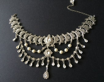 Chandelier Victorian Style Wedding Jewelry Rhinestone Crystals and Pearls Bridal Choker Necklace