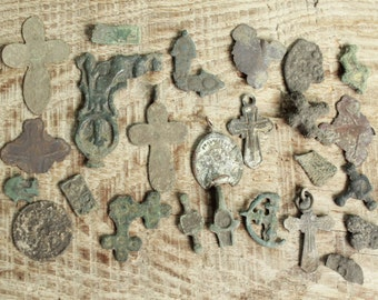 Lot of 20 antique crosses and parts of crosses charms / archaeological finds / antique cross / digging found objects / antique jewelry  #13