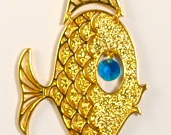 Fish Necklace Vintage Mod Fish Pendant 1960's Turquoise Eye Color