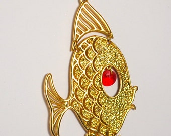 Fish Necklace Vintage Mod Fish Pendant 1960's Red Eye Color
