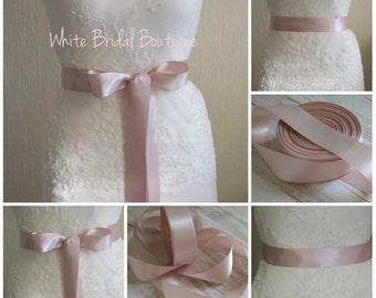 Blush ribbon sash Blush wedding sash Blush bridal sash Blush satin ribbon Blush wedding accessory Blush bridesmaids Blush bridal sash