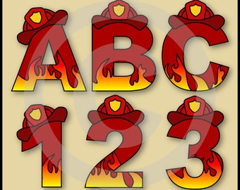 Fireman (Fire Fighter) Alphabet Letters & Numbers Clip Art Graphics