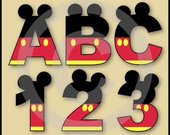 Mickey Alphabet Letters & Numbers Clip Art Graphics