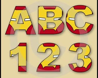 Iron Man (Avengers) Alphabet Letters & Numbers Clip Art Graphics