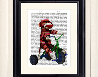 Sock Monkey on Tricycle - Sock Monkey print Sock Monkey art modern Nursery Art for Kids Room Décor Kids room art Unique kid gift boys room