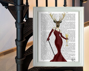 Glamour Deer Marsala Print - Marsala room decor Deer Print Deer painting Deer picture wall art wall decor wall hanging marsala art print