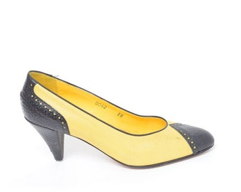 Vintage 80's Yellow And Black Real Leather Heels
