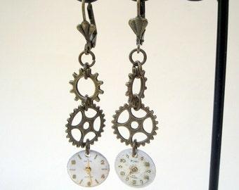 Steampunk earrings watch face dials, cogs gears, antique bronze earwires