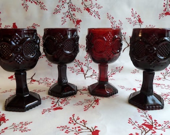 Vintage Avon 1876 Cape Cod Collection Wine Glasses.  Set of Four.  Ruby Red Glass.  1970's.