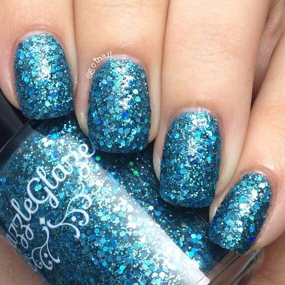 Best Turquoise Nail Polish: Blue Nail Polish Turquoise Holo Glitter By RadiantlyVivacious